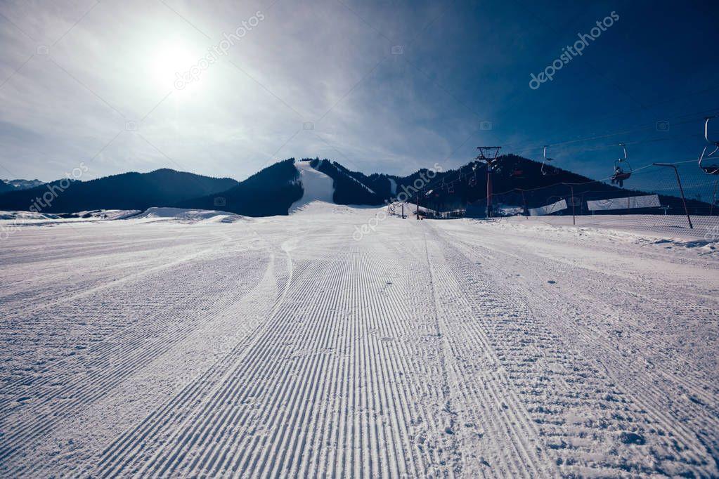 ski slopes on mountains ski resort in winter