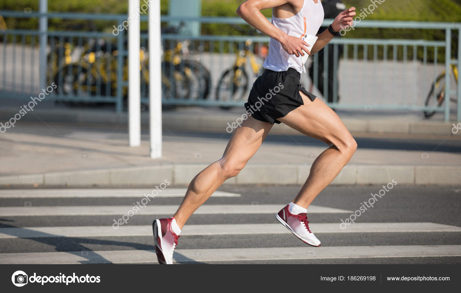 Marathon Runner Legs Running City Road Stock Photo