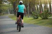 Fotografie žena cyklista jízdní kolo na lesní cestě