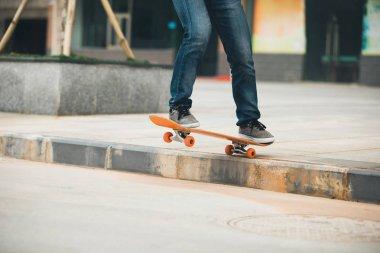 Skateboarder riding skateboard going down the step