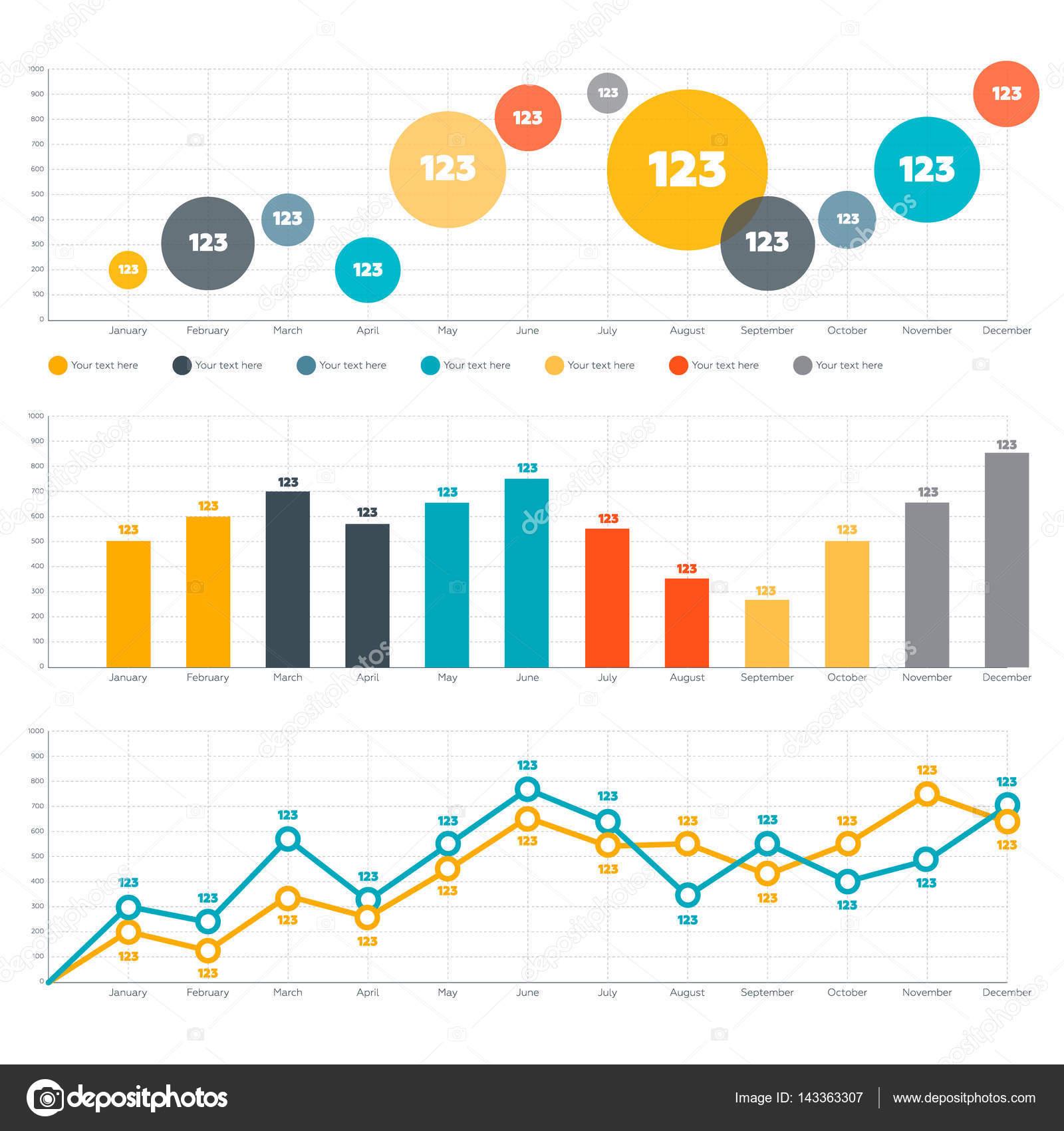 Line chart bar chart and circle diagram vetor de stock elbiem line chart bar chart and circle diagram vetor de stock ccuart Images