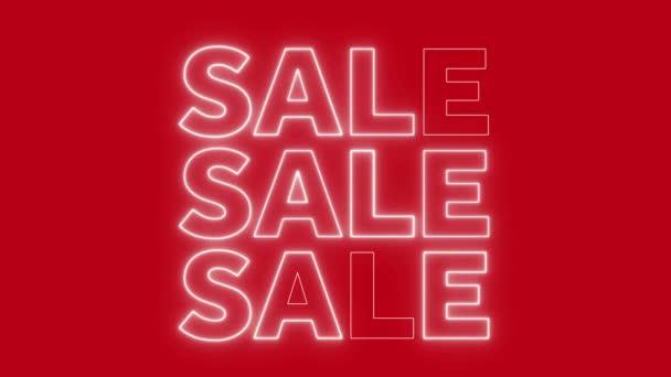 Neon villogó eladási jel egy élénk piros háttér