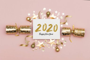 2020 Happy New Year party background stock vector