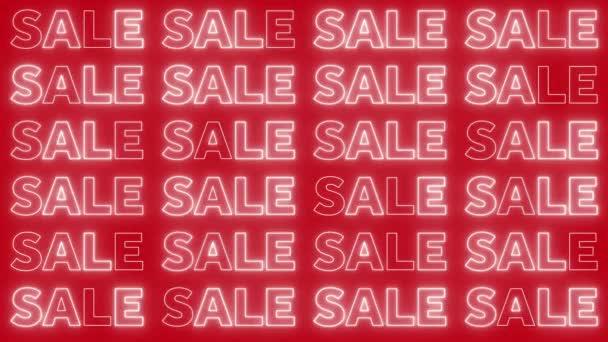 neonblinkendes Verkaufsschild auf knallrotem Hintergrund