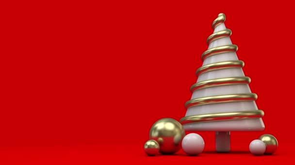 Animované točení slavnostní vánoční stromeček scény. 3D vykreslení