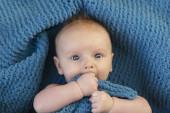 Egy aranyos kisfiú ölelget egy puha kék takarót