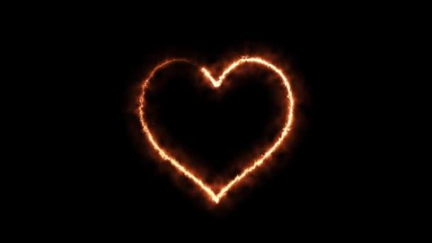 Hořící oheň láká srdce na černém pozadí. 3D vykreslení