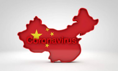 Map of China with the word coronavirus. 3D Rendering stock vector