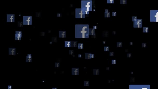 London, Großbritannien - 26. Februar 2019: Facebook-Social-Media-Logo fliegt durch die Animation