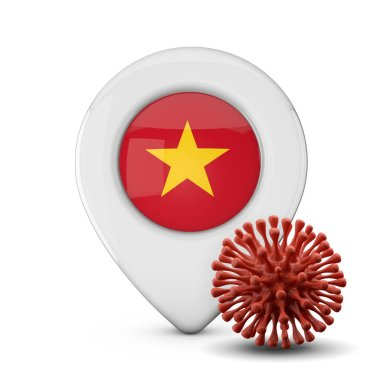 Vietnam location marker with virus or disease microbe. 3D Render