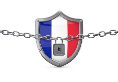 France lockdown concept. Shield with lock and chain. 3D Render