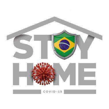 Brazil coronavirus outbreak stay home message. 3D Rendering