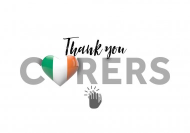 Thank you carers message with Ireland heart flag. 3D Render