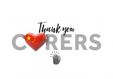 Thank you carers message with China heart flag. 3D Render