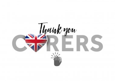Thank you carers message with United Kingdom heart flag. 3D Render