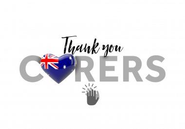 Thank you carers message with Australia heart flag. 3D Render
