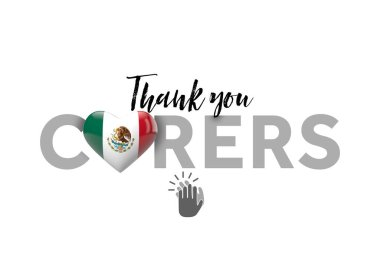 Thank you carers message with Mexico heart flag. 3D Render