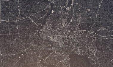 Bangkok, Thailand city map 3D Rendering. Aerial satellite view.