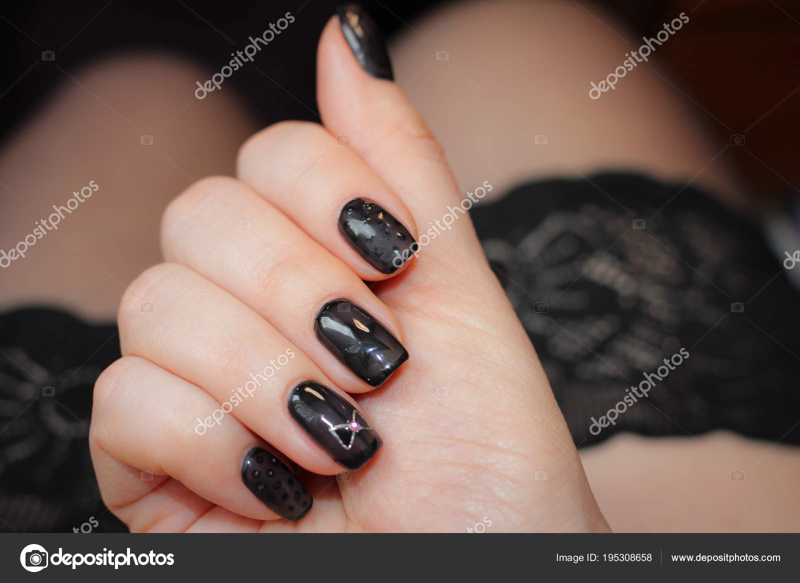 Designer Nails In Tone Stockings Stock Photo Bagira262626 195308658