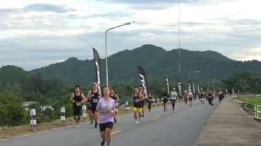 Chonburi , THAILAND - JULY 23, 2017 : Unidentified runners on the street during 2xu compression run Thailand