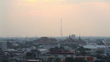 Time-lapse day to night in winter top view grand palace at  bangkok, Thailand