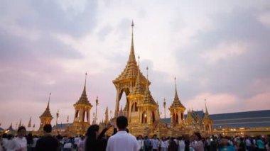 Bangkok,Thailand : November 17, 2017:Time lapse of crowd visiting The Royal Crematorium built on Sanam Luang used as The royal funeral Cremation Ceremony of His Majesty King Bhumibol Adulyadej (King Rama9)