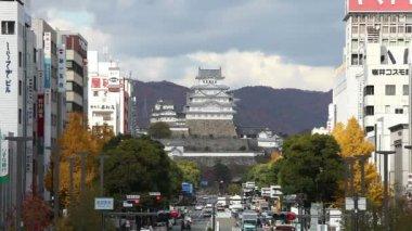 Himeji , JAPAN - December 1,2017 : Zoom Himeji castle from Jr Himeji station
