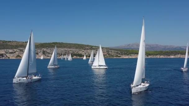 Chorvatsko, 15 Září 2019: Letecký záběr na závod jachet, plachtění regata, intenzivní konkurence, hodně bílých plachet, ostrov je na pozadí, top cestovní destinace, dovolená, idylická krajina