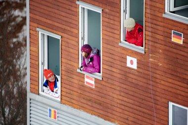 Rasnov, Romania - 24th-26th January 2020: Unknown ski jumper compets to win the Ladies' FIS World Cup Ski Jumping event in Rasnov, Romania