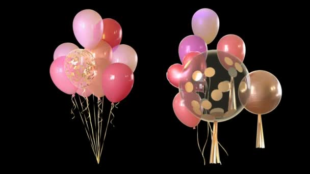 Animace Multicolored balloons float through a black background.