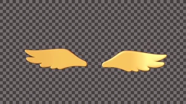Animation goldener Flügel auf schwarzem und weißem Hintergrund.
