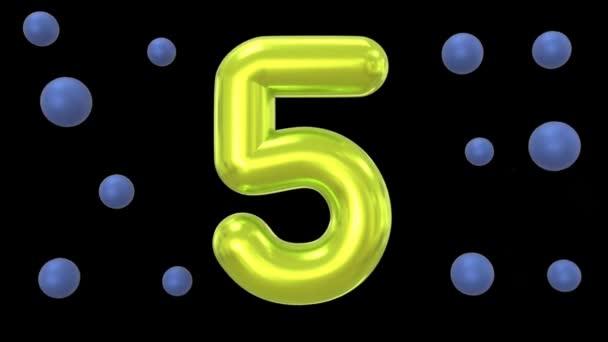 Animáció sárga Szöveg száma 5 a fekete háttér.