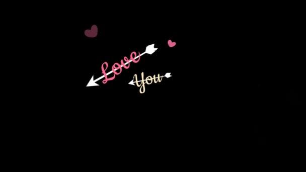 Animáció nyíl hímzett szöveg szeretlek fekete háttér.