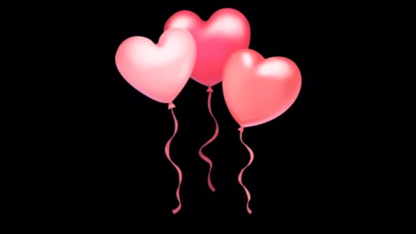 Animation pink balloons heart shape on black background.