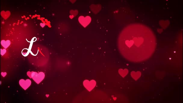 Animation Text LOVE in red heart with red heart background.