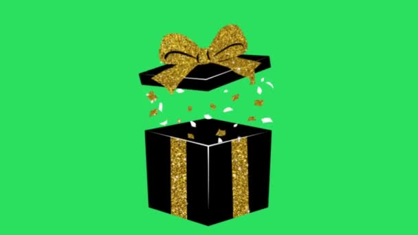 Animace Černá dárková krabice zlatý okraj na zeleném pozadí.