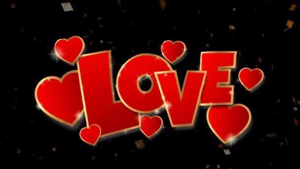 Animation red text LOVE on black background.