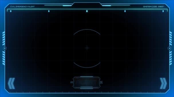 Modrý animační snímek. s textovým upozorněním na černém pozadí.