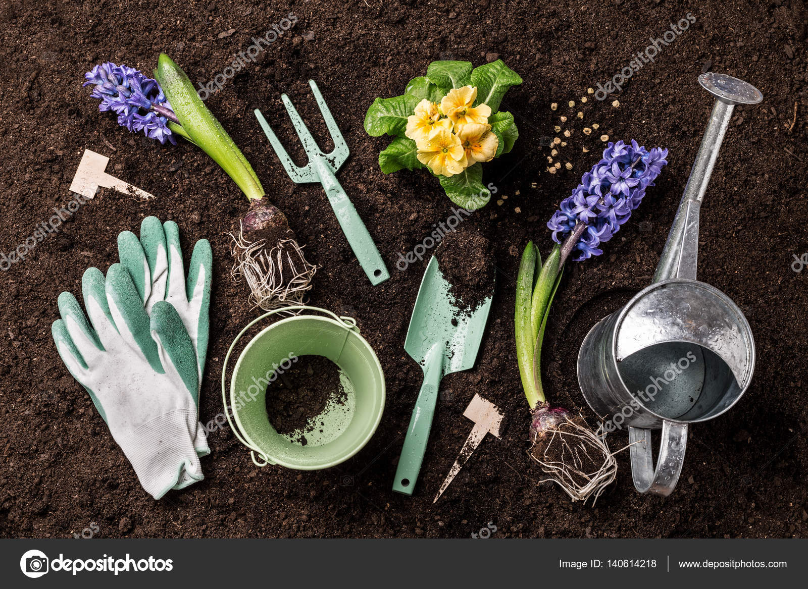 Spring Garden Works. Gardening Tools And Flowers On Soil Background. U2014  Stock Photo