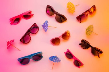 Collection of sunglasses - summer store display concept