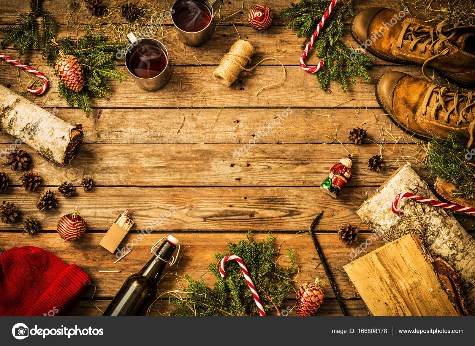 Country Christmas Background.Winter Christmas Weekend In Country Cabin Concept Stock