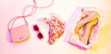 High heels, handbag and scarf - fashion accessories