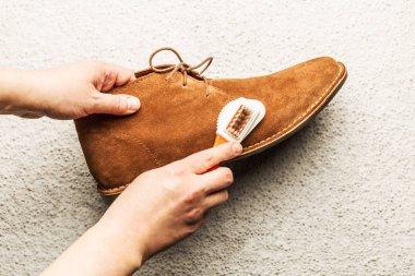 Suede desert shoe brush cleaning - footwear maintenance