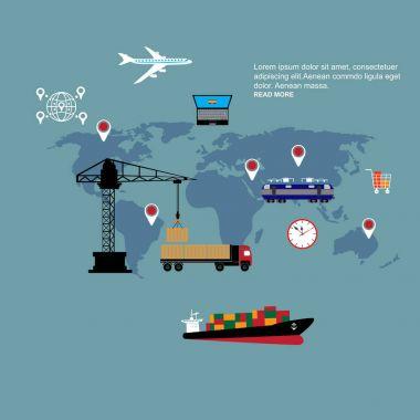 Set of icons on theme of Logistics