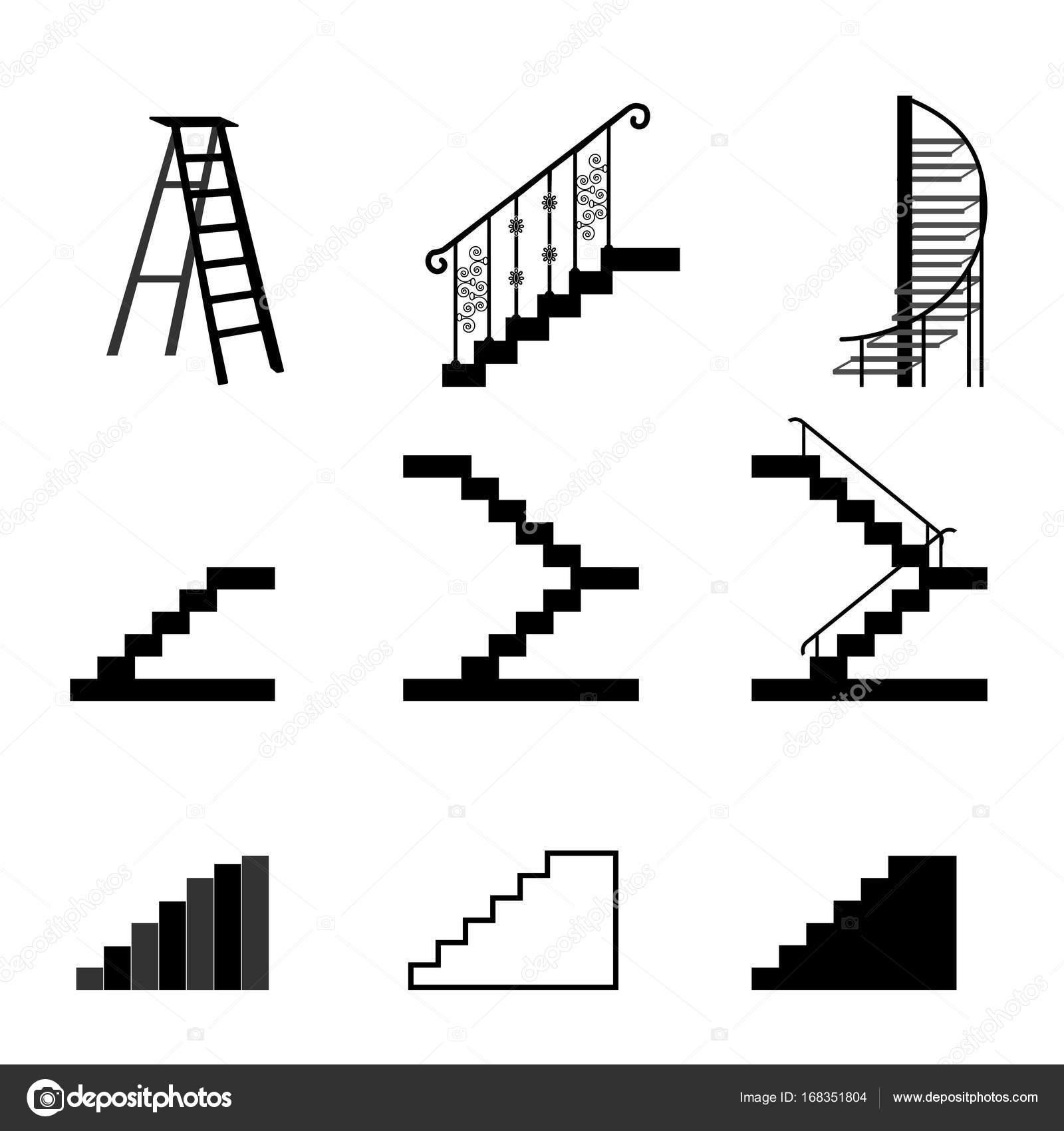 Diferentes tipos de escaleras vector de stock for Clases de escaleras