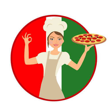 Chef standing with pizza