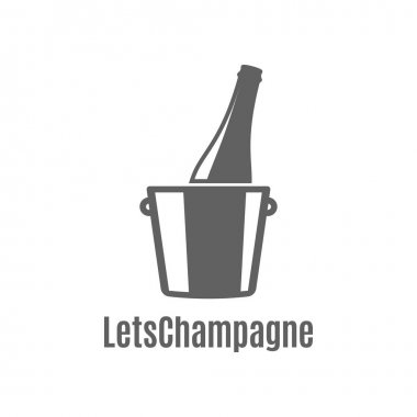 Champagne bottle in an ice bucket icon on white background