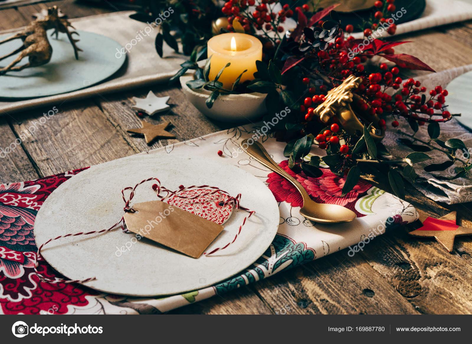 Christmas Place Setting, Name Card And Rustic Christmas Table Wi U2014 Stock  Photo