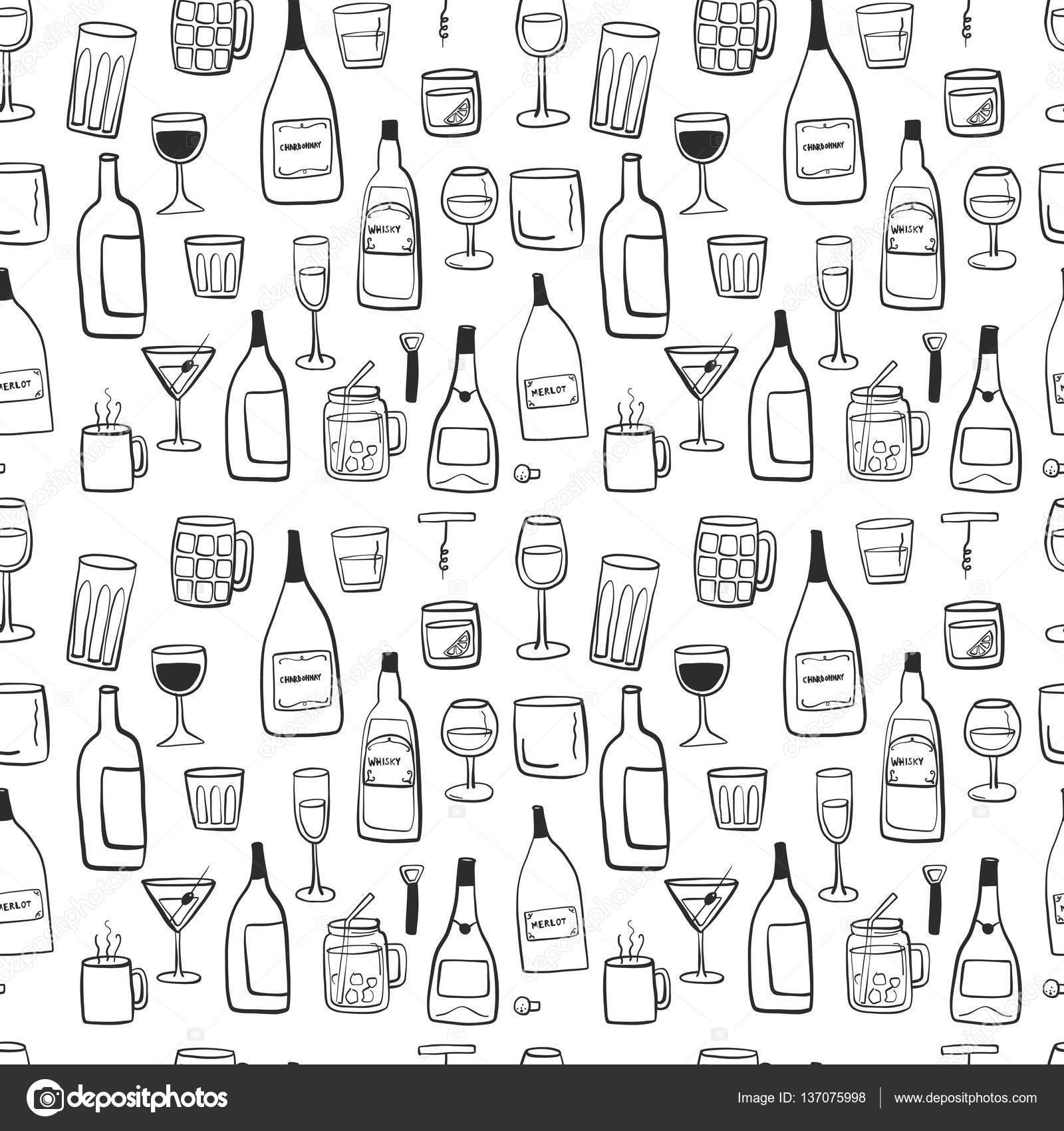 Alkoholische Getränke Nahtloses Kacheln Muster Zeichnen