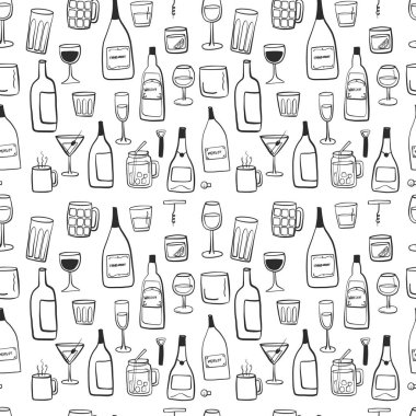 Alcoholic beverages drawing seamless tiling pattern